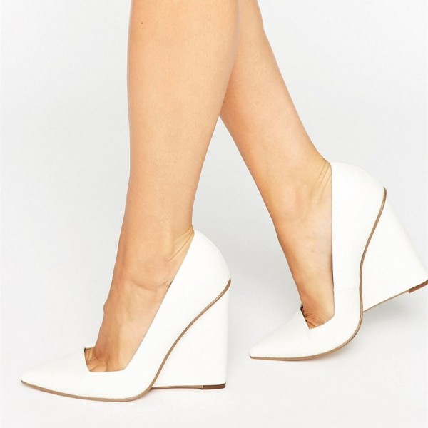 White Low Cut Upper Pointy Toe Wedge Heels Pumps image 3