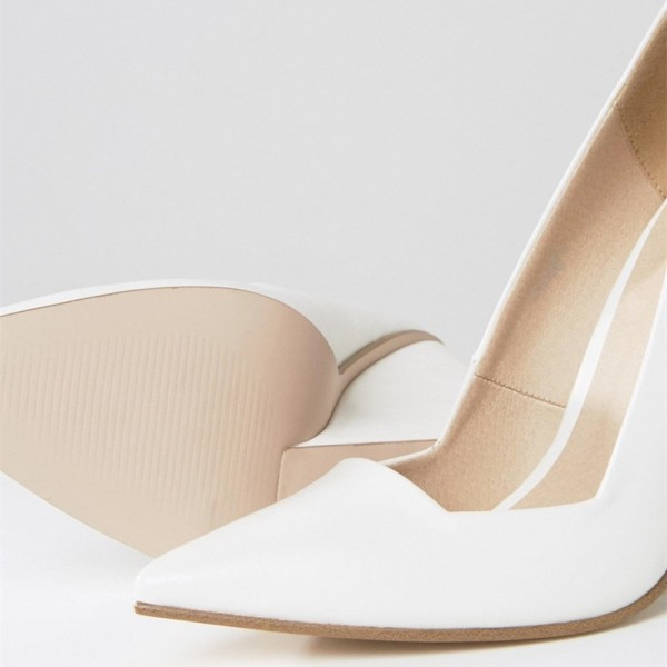 White Low Cut Upper Pointy Toe Wedge Heels Pumps image 4
