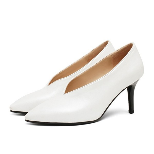 White Vintage Heels Low-cut uppers Pumps Kitten Heels image 2