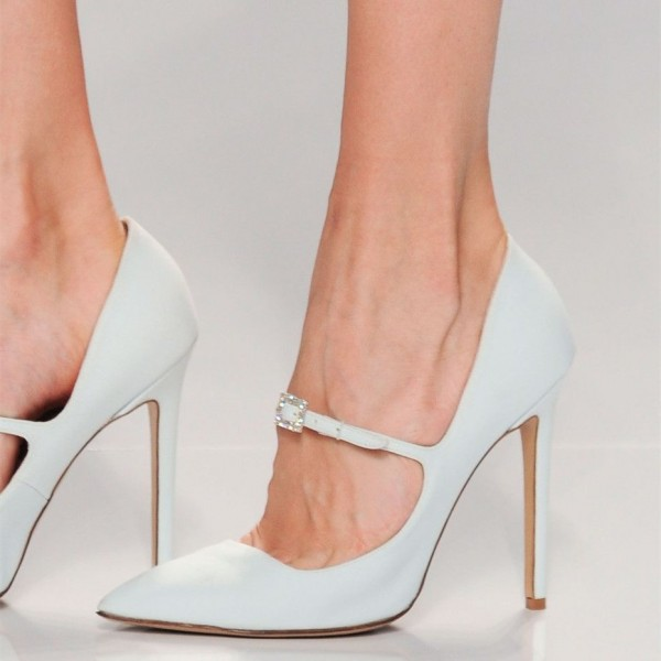 White Mary Jane Heels Buckle Rhinestone Stiletto Heel