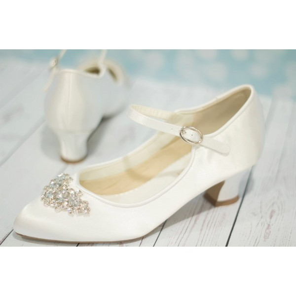 White Wedding Heels Satin Vintage Heels Mary Jane Pumps for Bridesmaid image 2