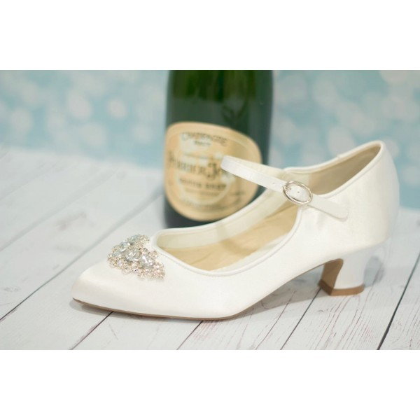 White Wedding Heels Satin Vintage Mary Jane Pumps For Bridesmaid Image 3
