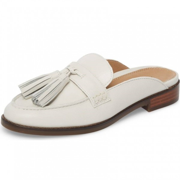 1f15434f6ad Ivory Loafer Mules Comfy Round Toe Flat Tassel Loafers for Women image 1 ...