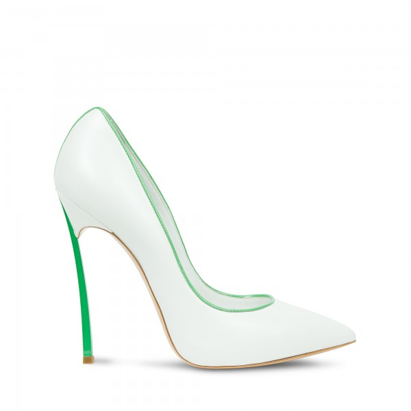 White and Green 5 Inches Stiletto Heels Pointy Toe Office Heels Pumps image 3