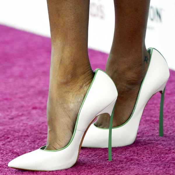 White and Green 5 Inches Stiletto Heels Pointy Toe Office Heels Pumps image 1