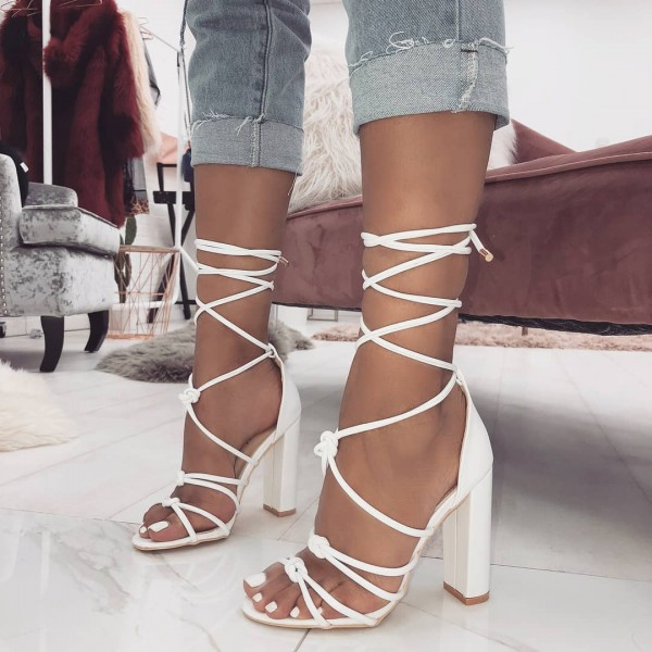 White Open Toe Chunky Heels Strappy Sandals image 1