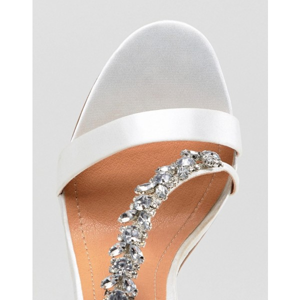 White Satin Bridal Sandals Open Toe Rhinestone Ankle Strap Heels image 3