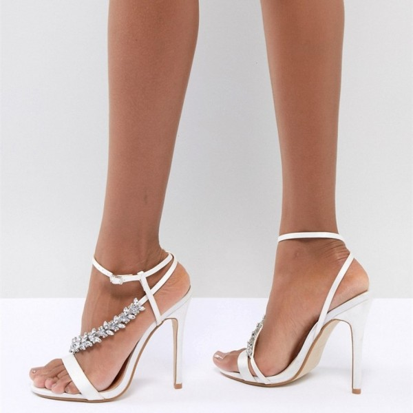 White Satin Bridal Sandals Open Toe Rhinestone Ankle Strap Heels image 2