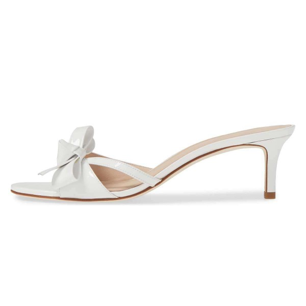 White Patent Leather Bow Kitten Heels Mule Sandals image 2