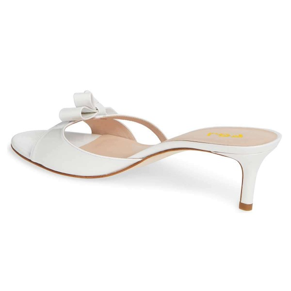 White Patent Leather Bow Kitten Heels Mule Sandals image 4