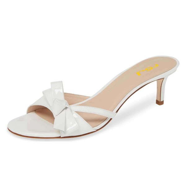 White Patent Leather Bow Kitten Heels Mule Sandals image 1