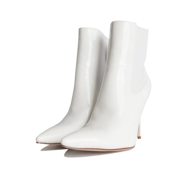 White Patent Leather Chelsea Boots Stiletto Heel Ankle Boots image 3