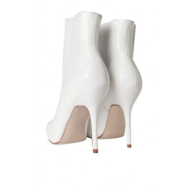 White Patent Leather Chelsea Boots Stiletto Heel Ankle Boots image 2