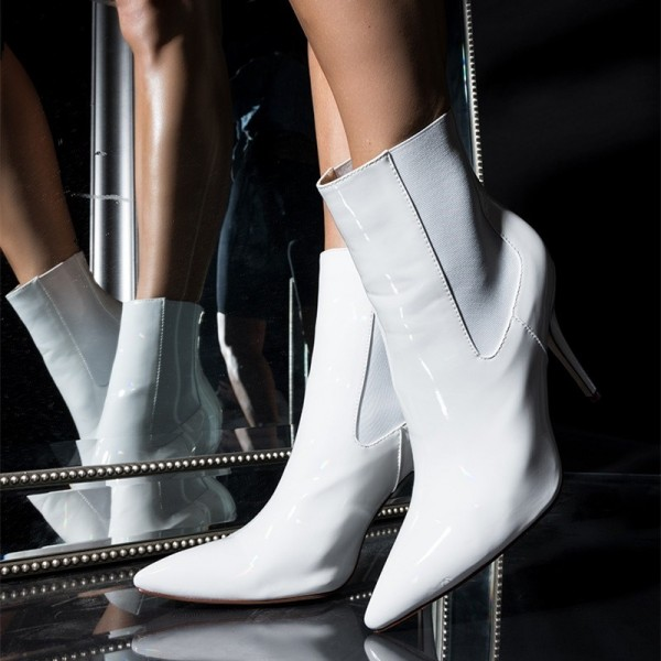 White Patent Leather Chelsea Boots Stiletto Heel Ankle Boots image 1