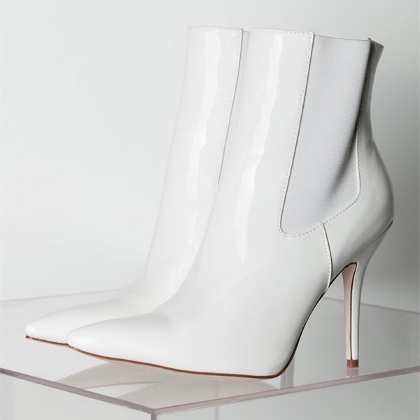 White Patent Leather Chelsea Boots Stiletto Heel Ankle Boots image 6