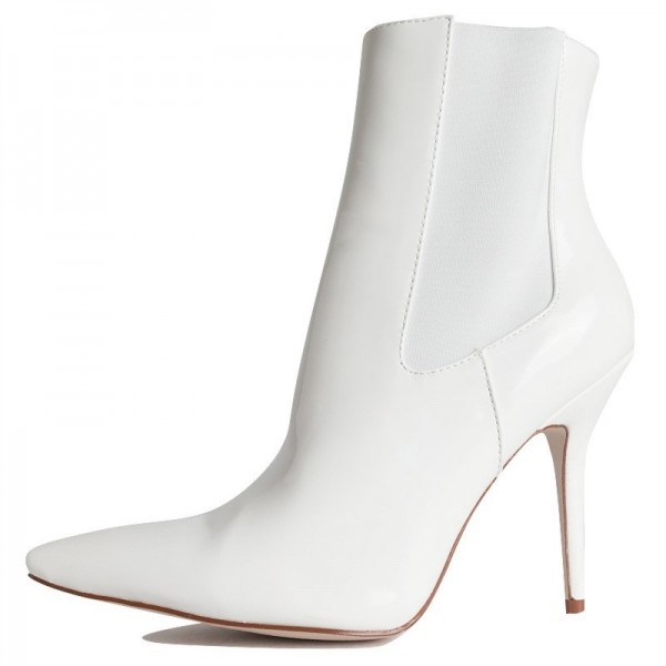 White Patent Leather Chelsea Boots Stiletto Heel Ankle Boots image 5