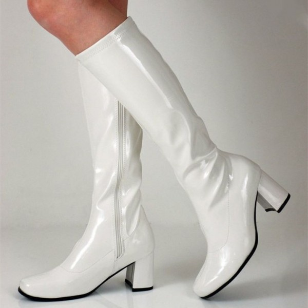 White Patent Leather Chunky Heel Boots Mid Calf Long Boots image 1