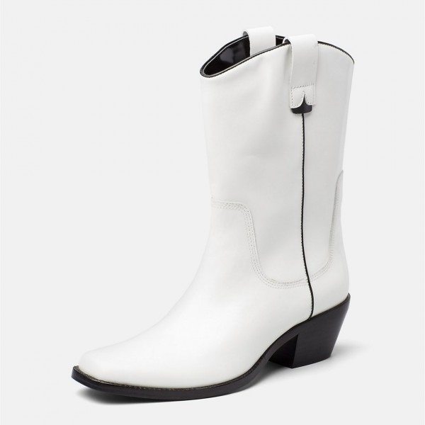 White Western Boots Vegan Leather Chunky Heel Mid Calf Boots image 1