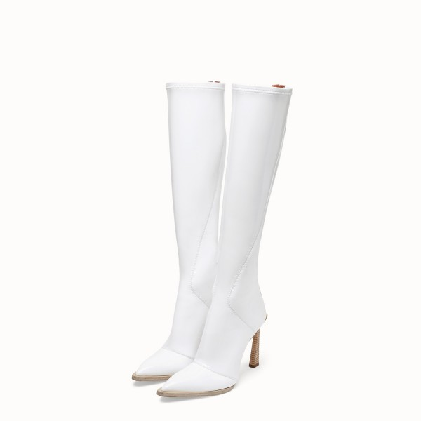 White Patent Leather Fashion Boots Chunky Heel Boots image 1