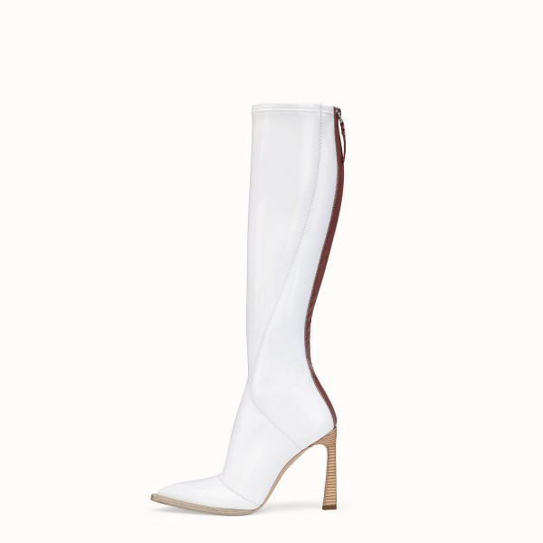 White Patent Leather Fashion Boots Chunky Heel Boots image 2