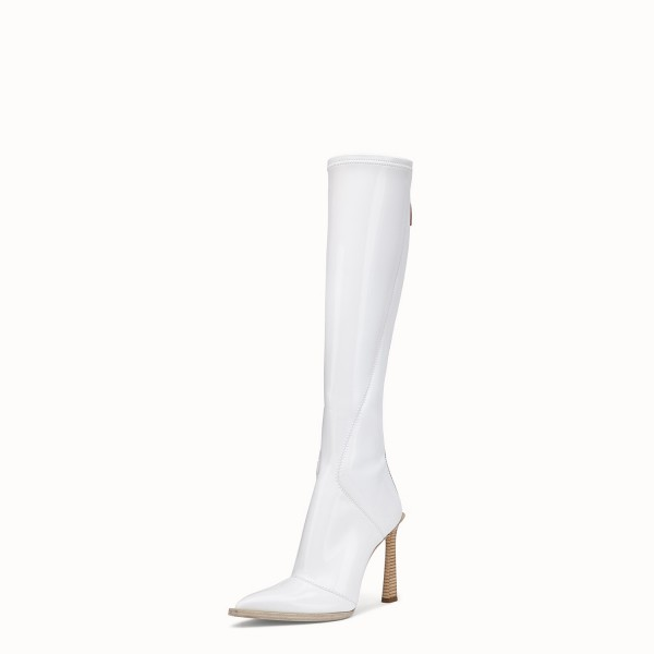 White Patent Leather Fashion Boots Chunky Heel Boots image 3