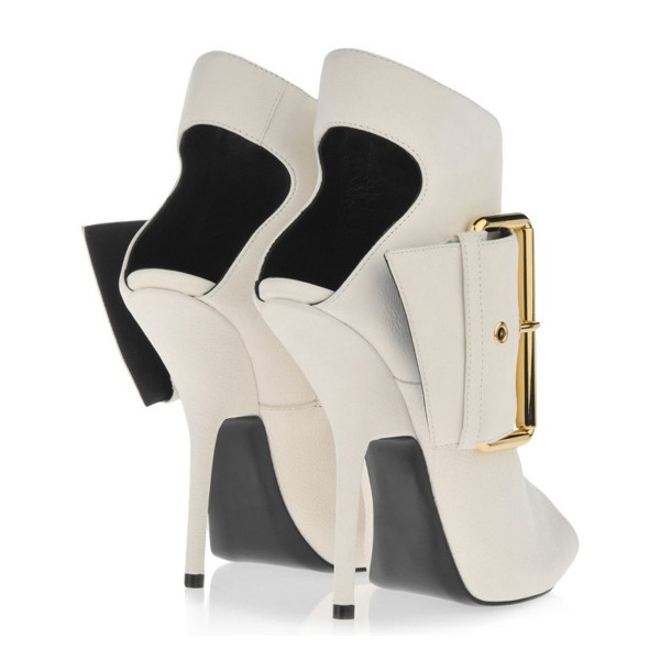 Women's White Peep Toe Heels Slingback Shoes Ankle Fashion Boots  image 5