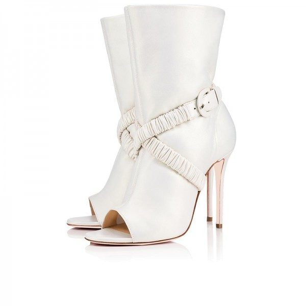 df30d78aa White Peep Toe Booties Stiletto Heel Ankle Boots for Party, Music ...