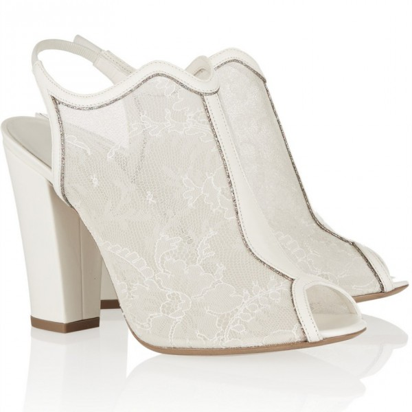 Women's Bridal Shoes White Lace Floral Peep Toe Chunky Heels image 2