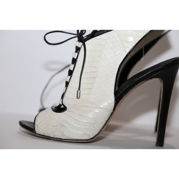 White Peep Toe Lace up Slingback Heels Sandals Summer Boots image 4