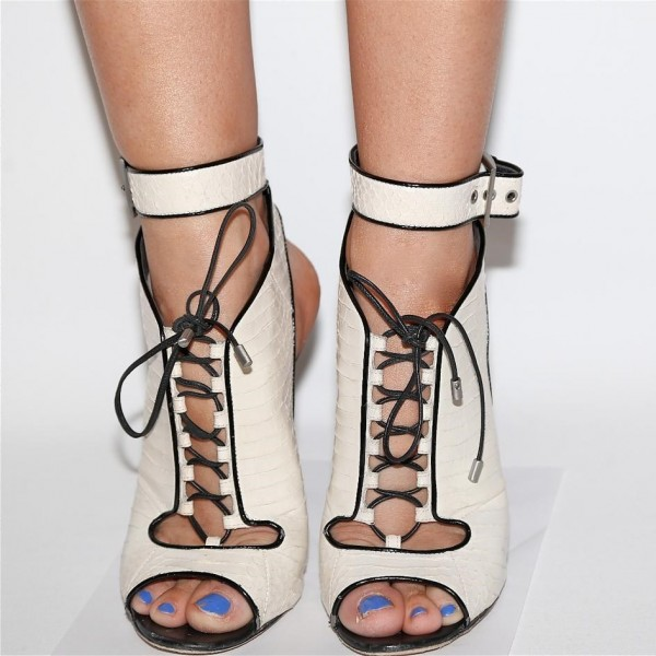 White Peep Toe Lace up Slingback Heels Sandals Summer Boots image 3