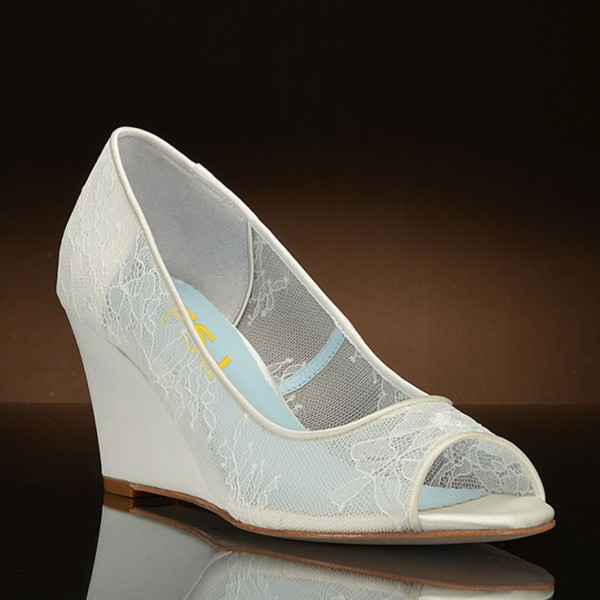 White Wedding Shoes Peep Toe Lace Heels Wedge Pumps image 5