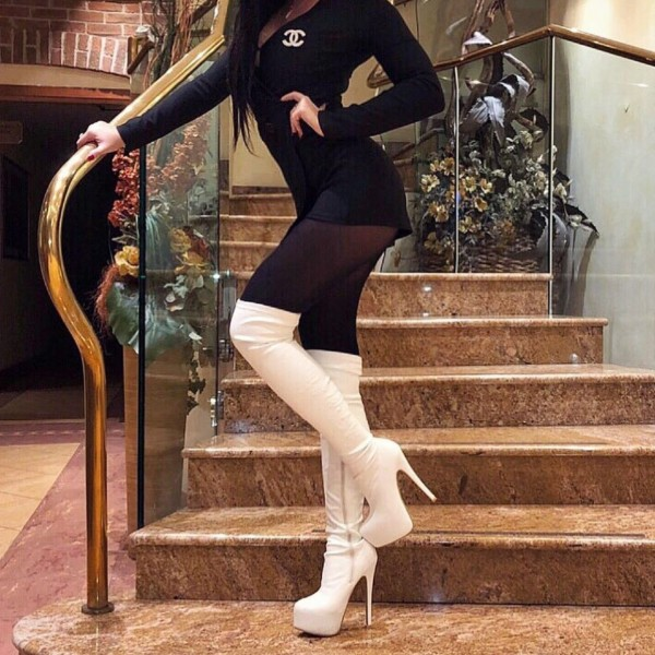 White Platform Boots Stiletto Heel Over The Knee Boots For