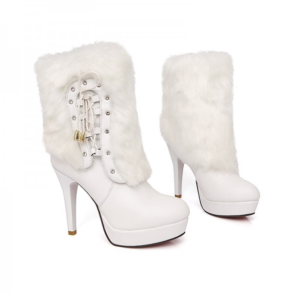 White Fur Boots Round Toe Platform Ankle Boots for Cold Weather image 2