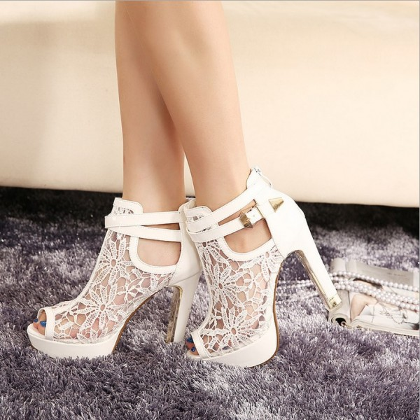 Women's White Lace Peep Toe Buckle Stiletto Heels Wedding Shoes  image 3