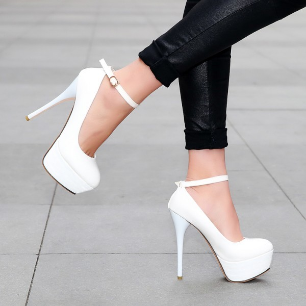 Women's White Ankle Strap Buckle Stiletto Heels Pumps Shoes image 2