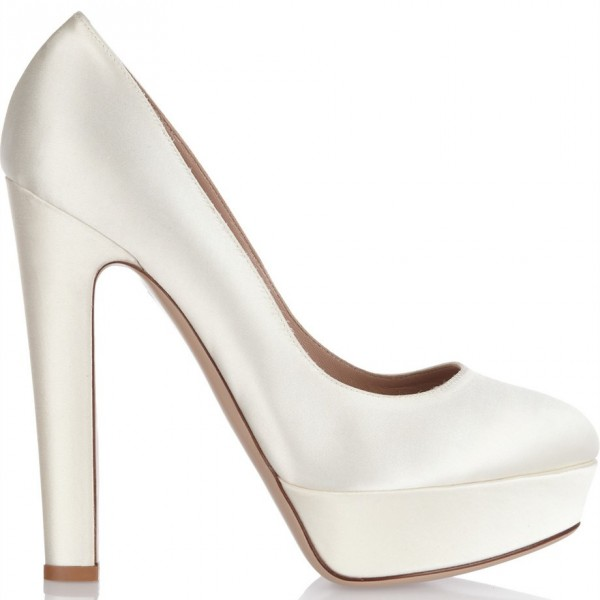 White Satin Chunky Heel Pumps Round Toe Platform Wedding Heels image 2
