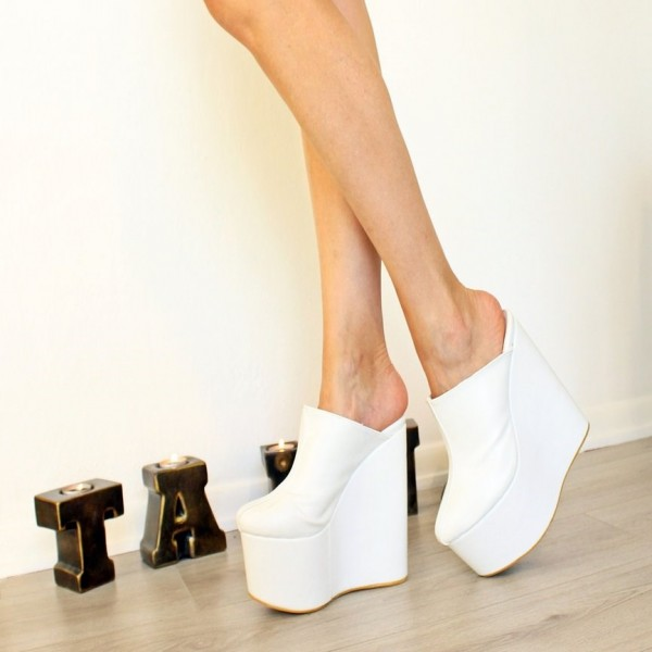 White Platform Wedge Heels Mule Pumps image 1