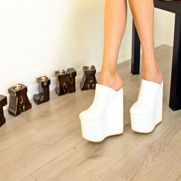 White Platform Wedge Heels Mule Pumps image 3