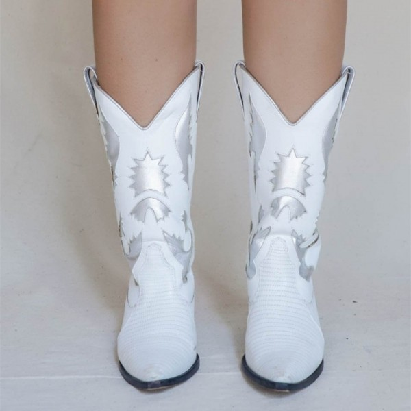 White Pointed Toe Cowgirl Boots Chunky Heel Mid-Calf Boots image 3