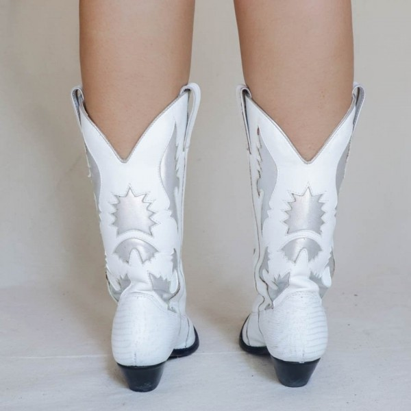 White Pointed Toe Cowgirl Boots Chunky Heel Mid-Calf Boots image 2