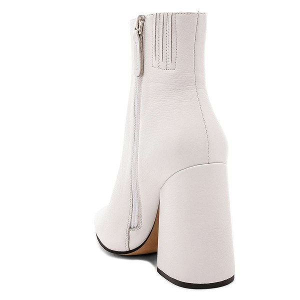 White Pointy Toe Block Heel Boots with Zip image 3
