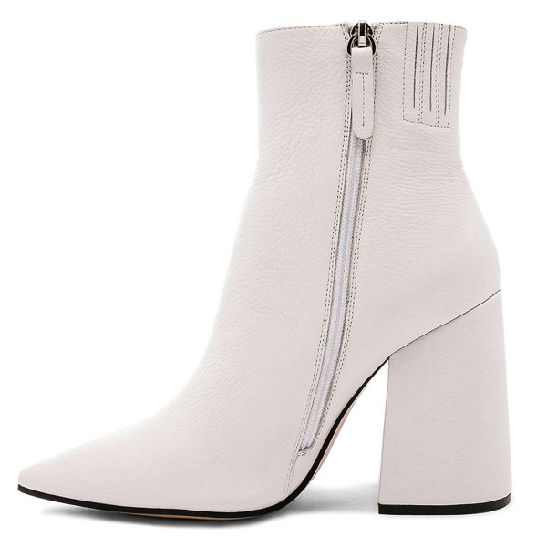 White Pointy Toe Block Heel Boots with Zip image 2