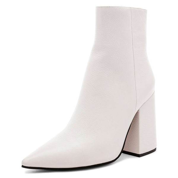 White Pointy Toe Block Heel Boots with
