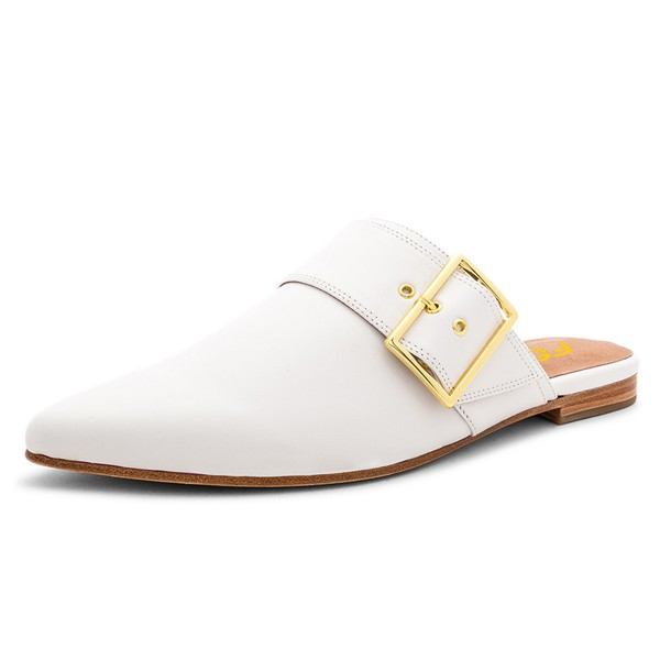 White Mules Pointy Toe Buckle Loafers for Women image 1