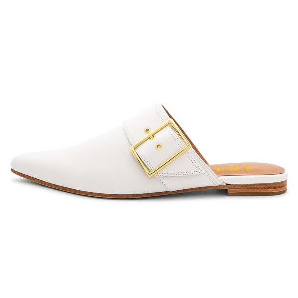 White Mules Pointy Toe Buckle Loafers for Women image 3