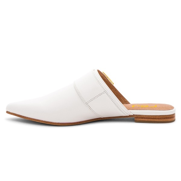 White Mules Pointy Toe Buckle Loafers for Women image 4
