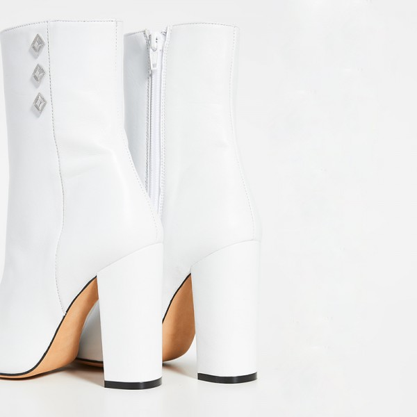 White Pointy Toe Chunky Heel Boots Ankle Boots for Women image 3