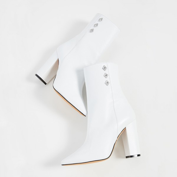 White Pointy Toe Chunky Heel Boots Ankle Boots for Women image 2