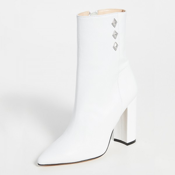White Pointy Toe Chunky Heel Boots Ankle Boots for Women image 1