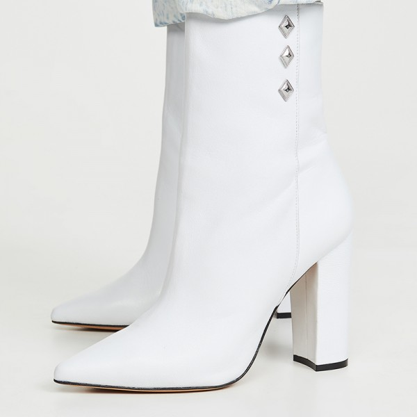 White Pointy Toe Chunky Heel Boots Ankle Boots for Women image 4